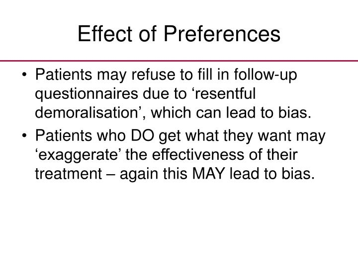 Effect of Preferences