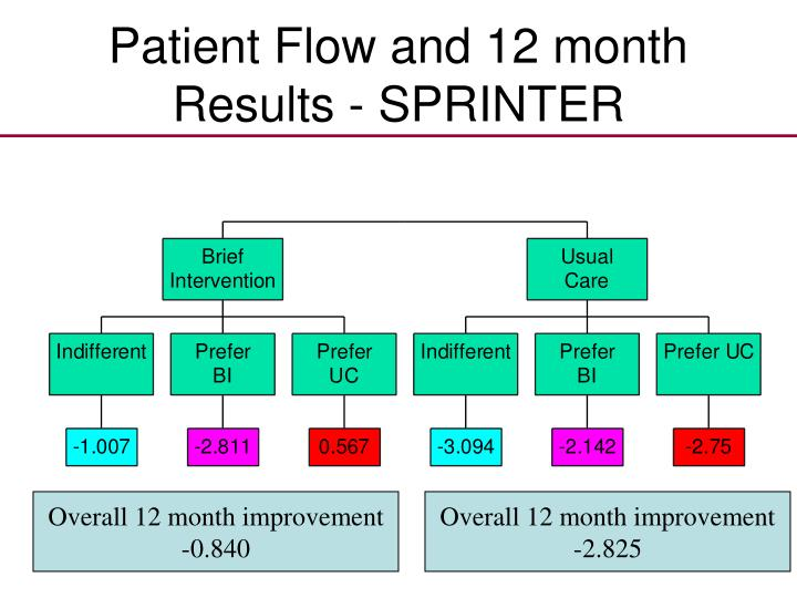 Patient Flow and 12 month Results - SPRINTER
