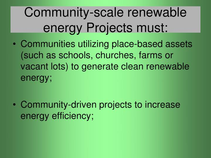 community scale renewable energy projects must