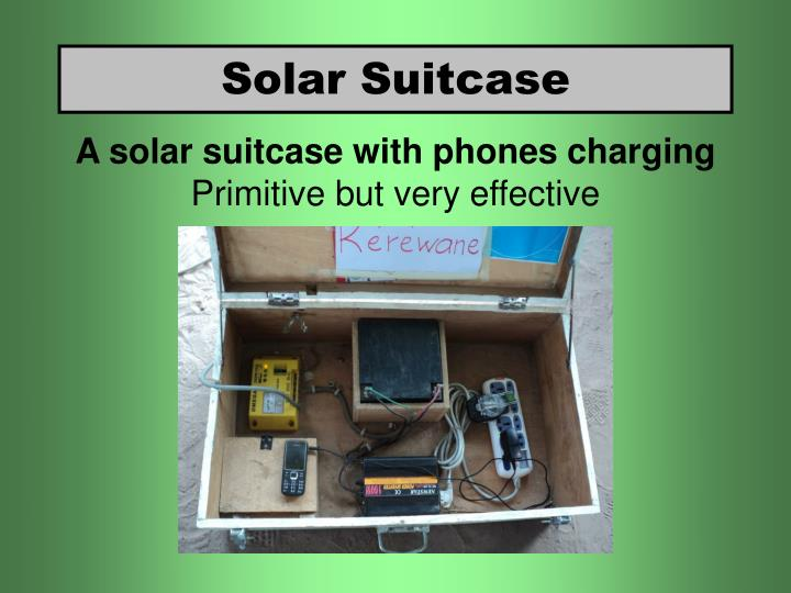 A solar suitcase with phones charging