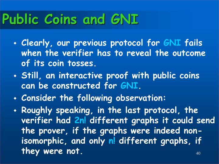 Public Coins and GNI