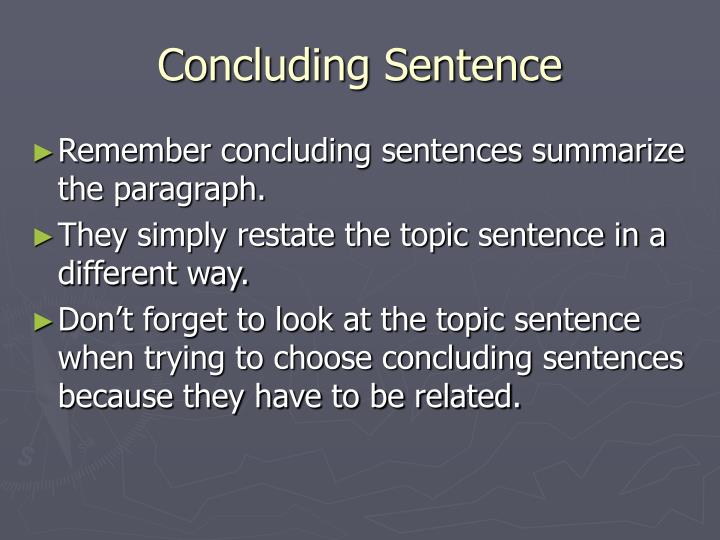 Concluding Sentence