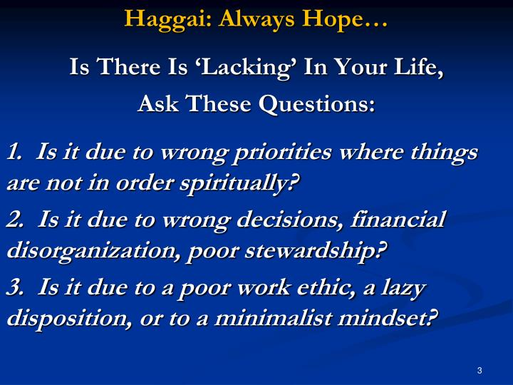 Haggai: Always Hope…