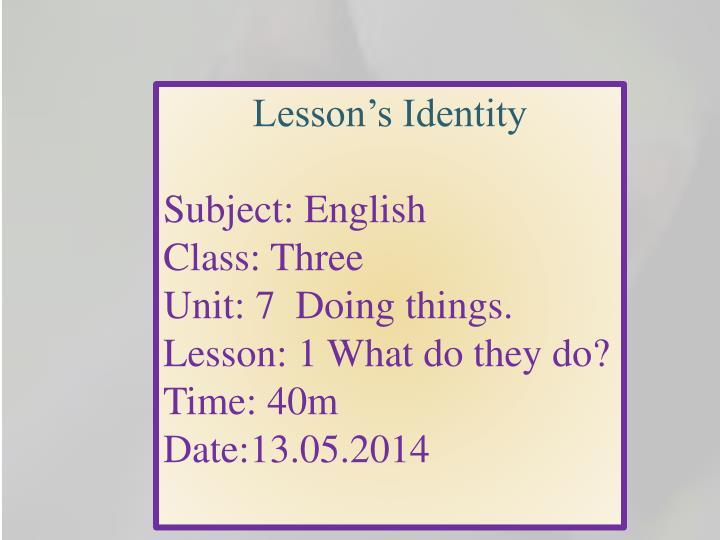 Lesson's Identity