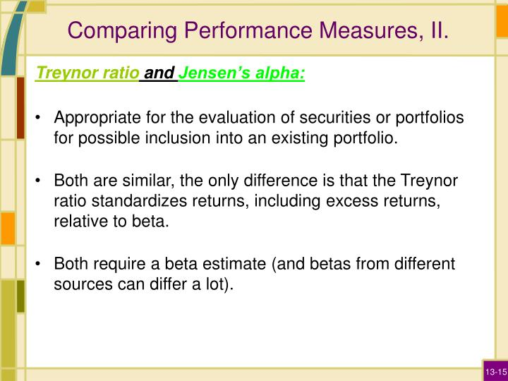 Comparing Performance Measures, II.