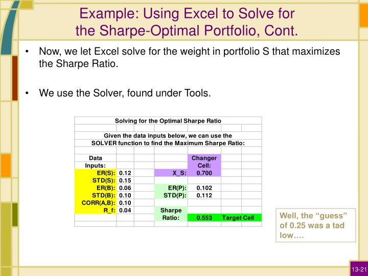 Example: Using Excel to Solve for