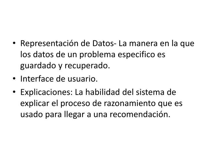 Representación de Datos- La manera en la que los datos de un problema especifico es guardado y recuperado.