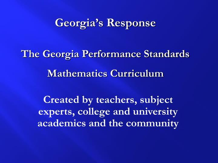 Georgia's Response