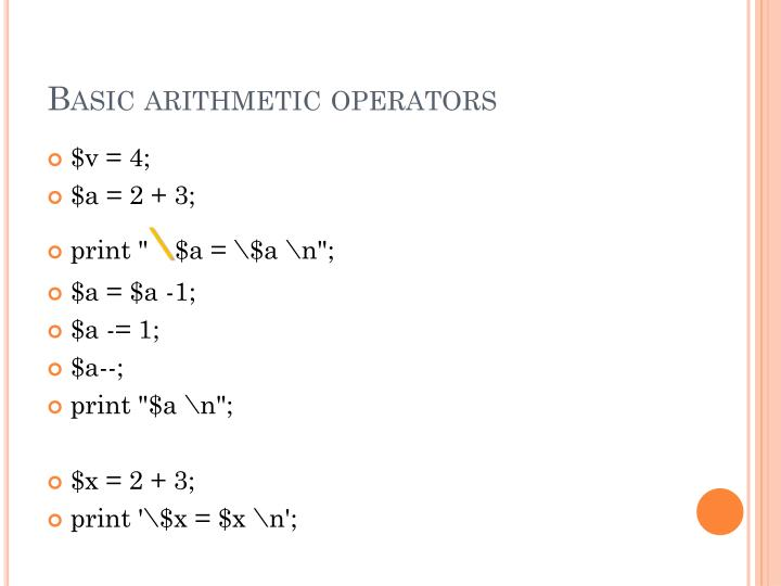 Basic arithmetic operators