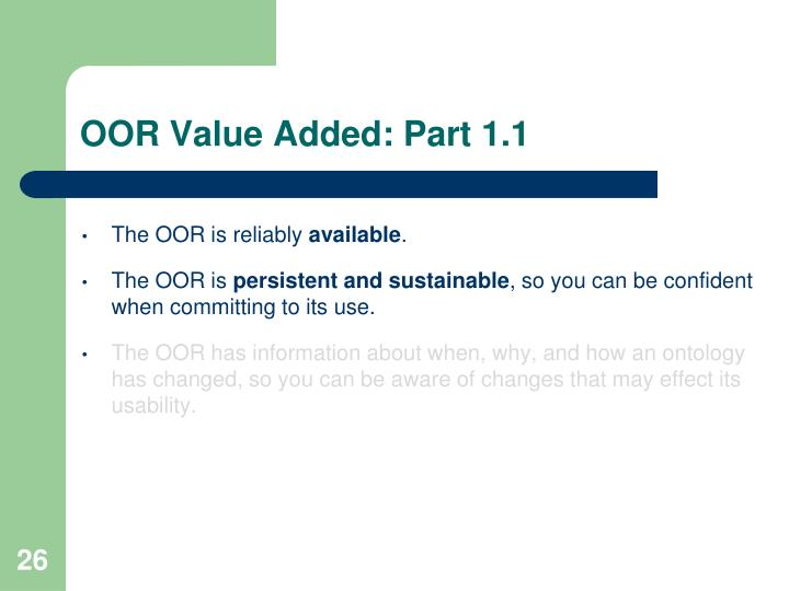OOR Value Added: Part 1.1