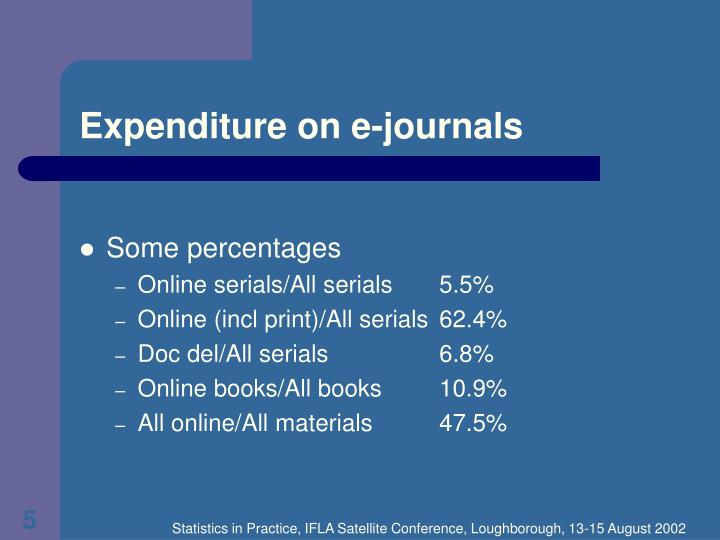 Expenditure on e-journals