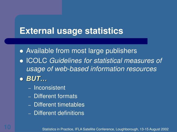 External usage statistics
