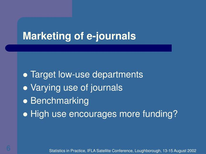 Marketing of e-journals