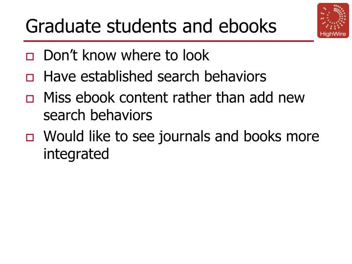 Graduate students and ebooks
