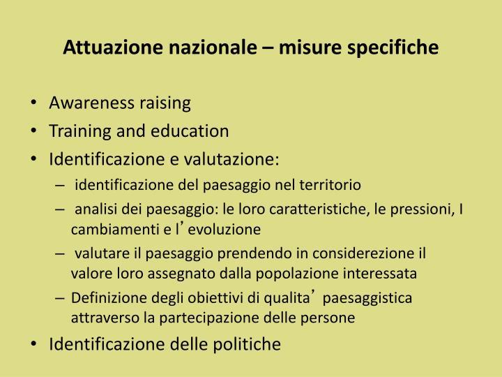 Attuazione nazionale – misure specifiche