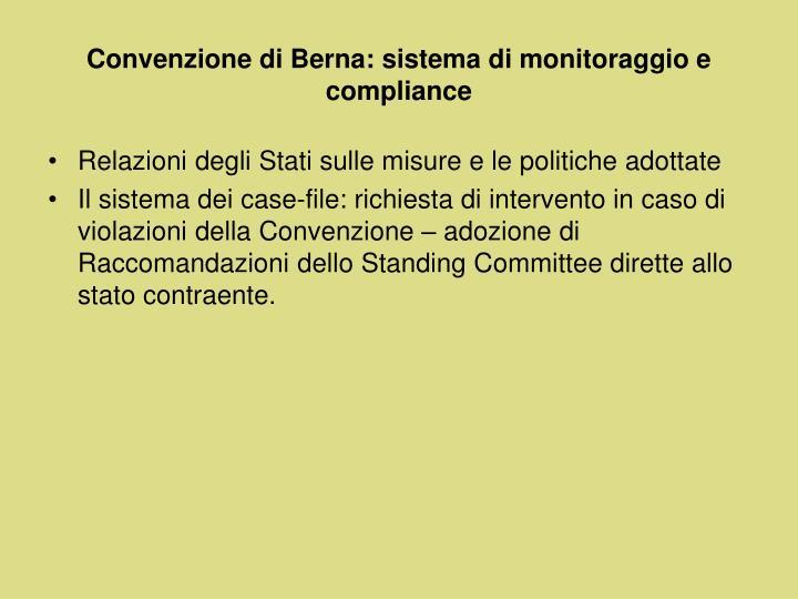 Convenzione di Berna: sistema di monitoraggio e compliance