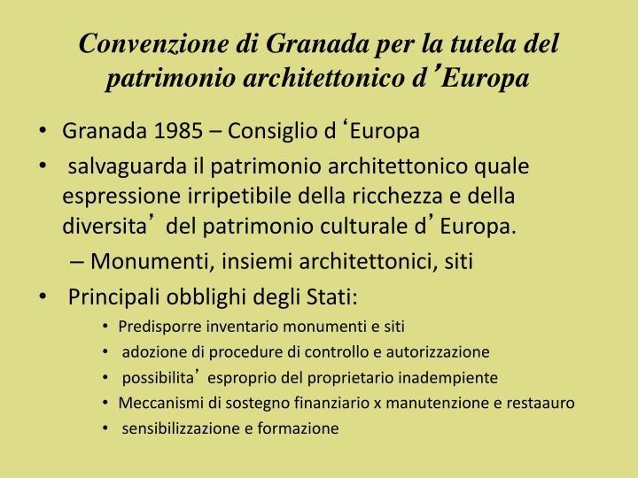 Convenzione di Granada per la tutela del patrimonio architettonico d