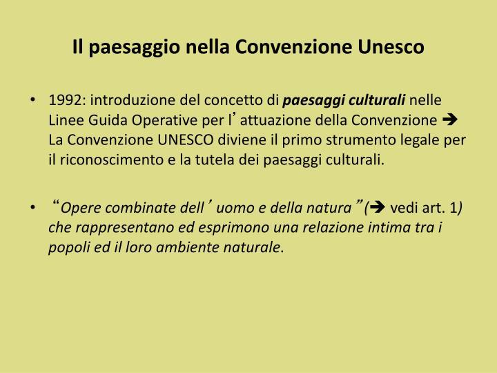 Il paesaggio nella Convenzione Unesco