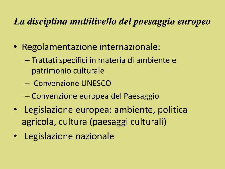 La disciplina multilivello del paesaggio europeo