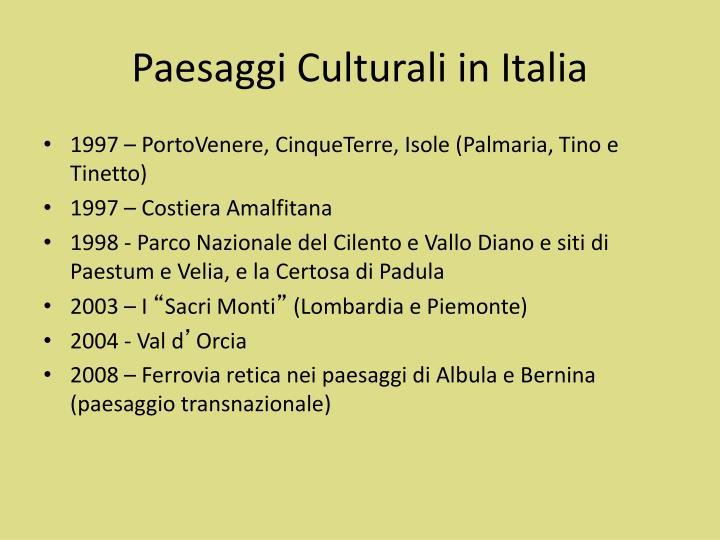 Paesaggi Culturali in Italia