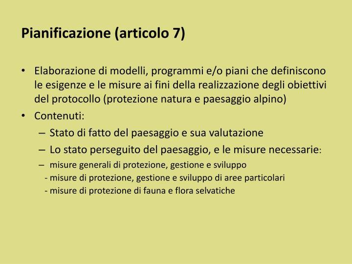 Pianificazione (articolo 7)