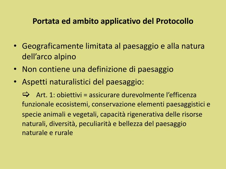 Portata ed ambito applicativo del Protocollo