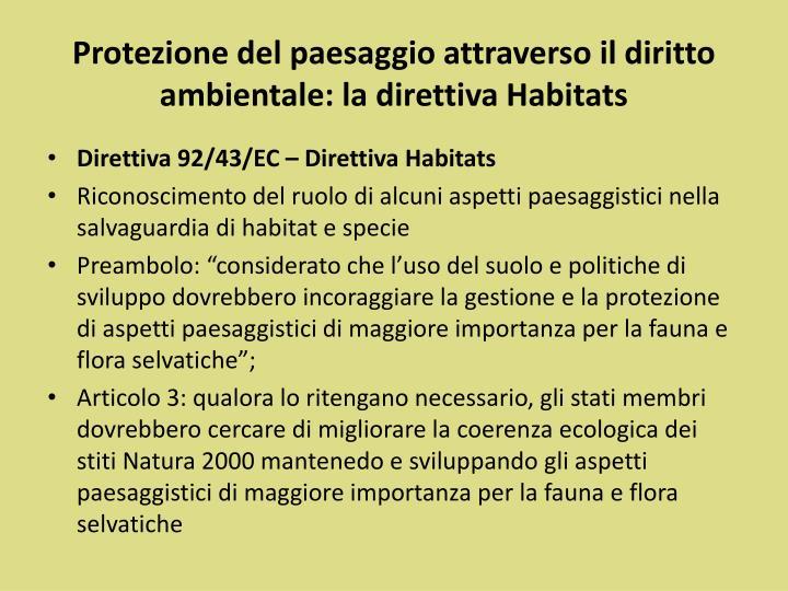 Protezione del paesaggio attraverso il diritto ambientale: la direttiva Habitats