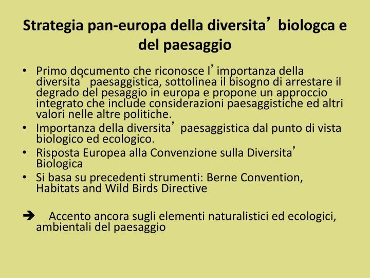 Strategia pan-europa della diversita
