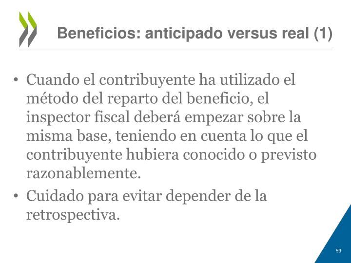 Beneficios: anticipado versus real (1)