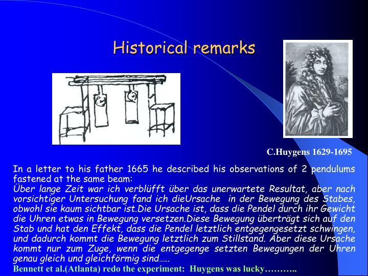 Historical remarks