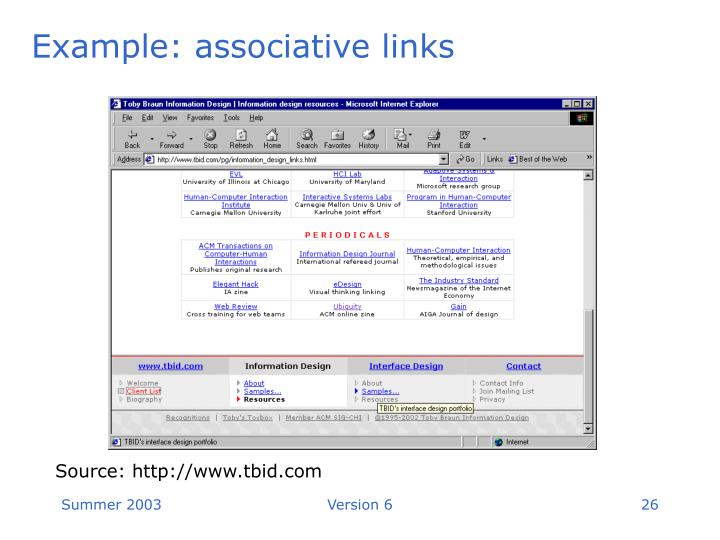 Example: associative links