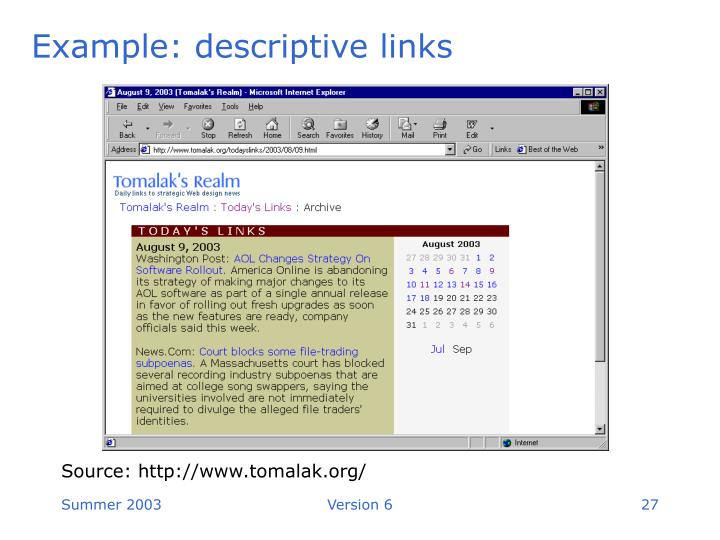 Example: descriptive links