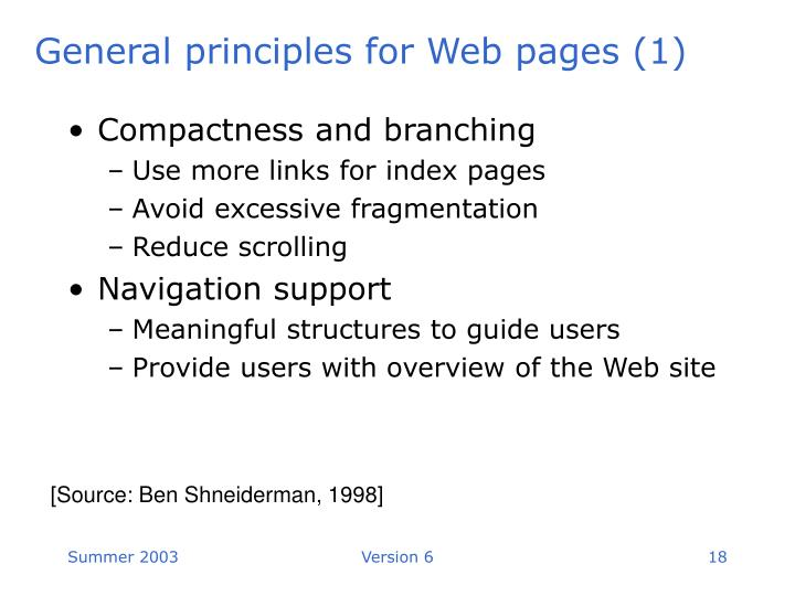 General principles for Web pages (1)