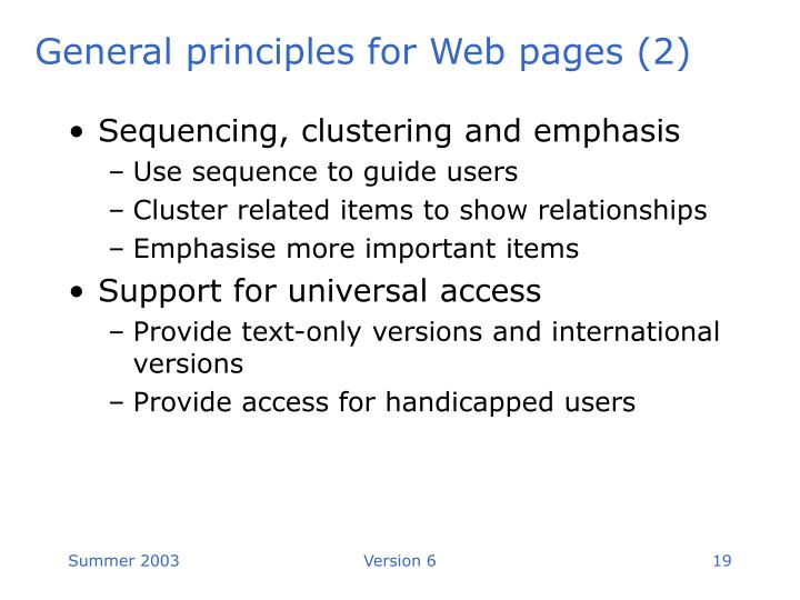 General principles for Web pages (2)