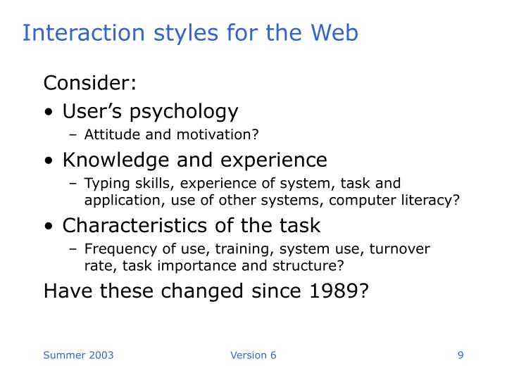 Interaction styles for the Web