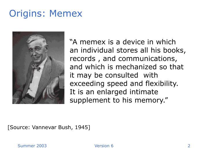 Origins: Memex
