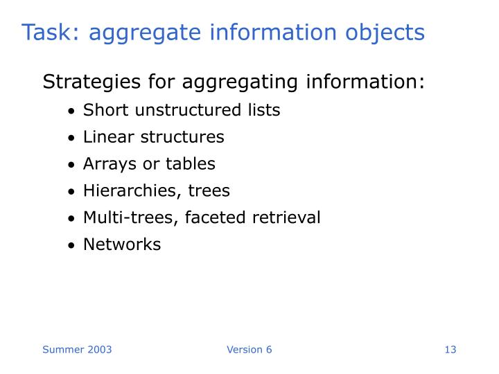 Strategies for aggregating information: