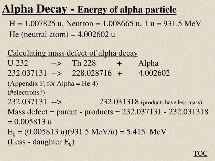 Alpha Decay -