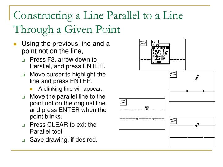 Constructing a Line Parallel to a Line Through a Given Point
