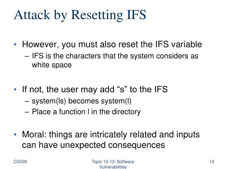 Attack by Resetting IFS