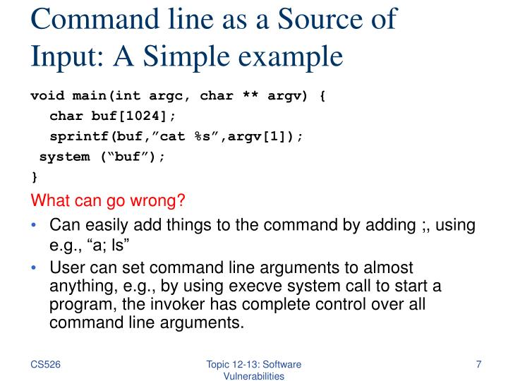 Command line as a Source of Input: A Simple example