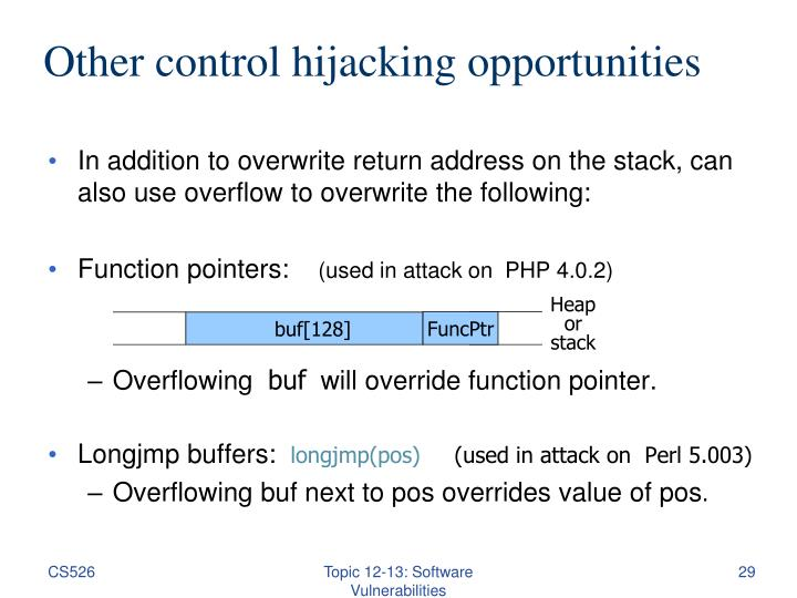 Other control hijacking opportunities