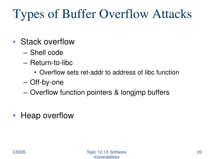 Types of Buffer Overflow Attacks