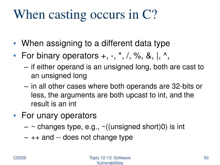 When casting occurs in C?