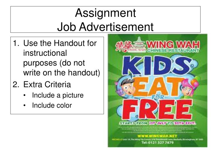 Use the Handout for instructional purposes (do not write on the handout)