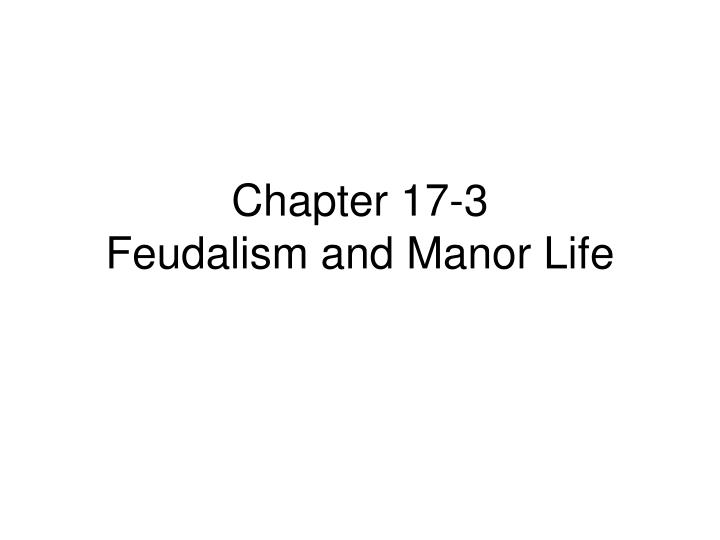 Chapter 17 3 feudalism and manor life