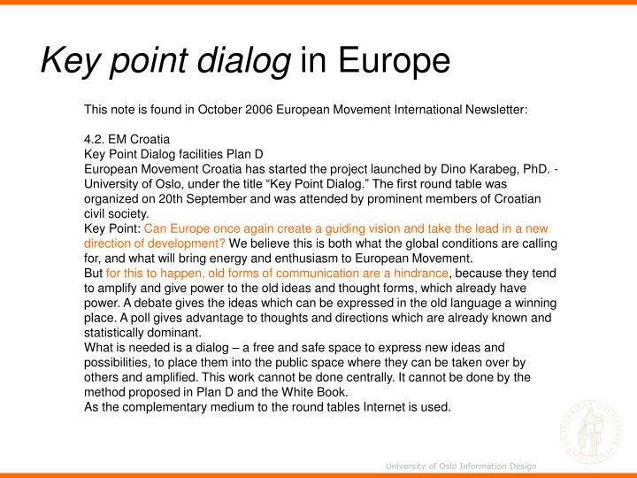 Key point dialog