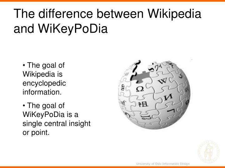 The difference between Wikipedia and WiKeyPoDia
