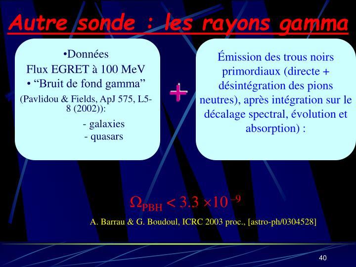 Autre sonde : les rayons gamma