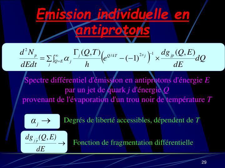 Emission individuelle en antiprotons